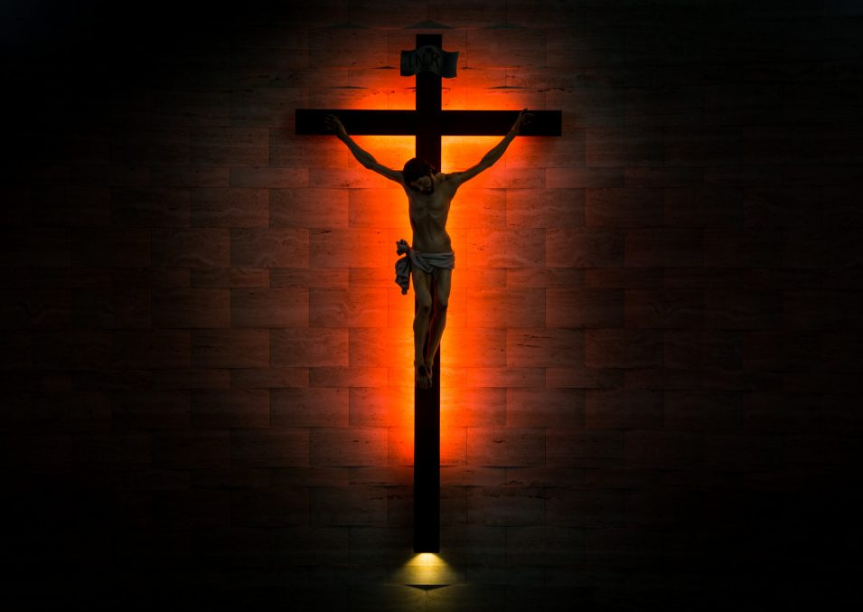 Crucifix of the Catholic Christian in silhouette